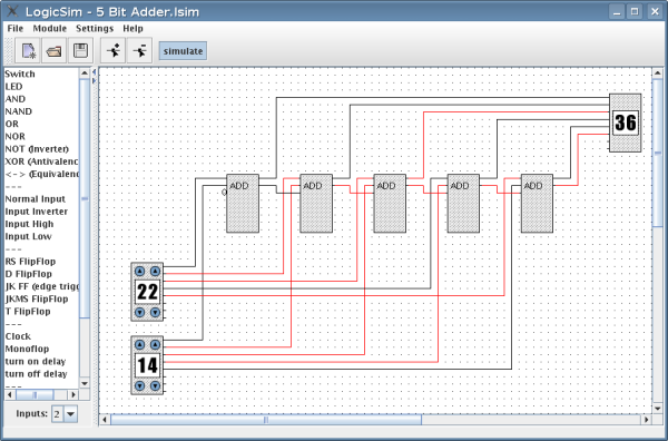 homepage of andreas tetzl logic simulatorsimulation of a 5 bit adder with decimal input output